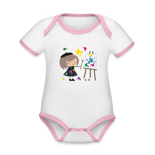 Happy Meitli - Künstlerin - Baby Bio-Kurzarm-Kontrastbody