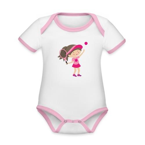 Happy Meitlis - Tennis Mädchen - Baby Bio-Kurzarm-Kontrastbody