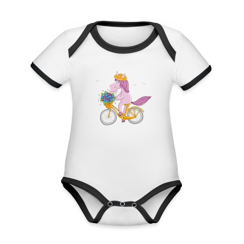 Pferd auf Fahrrad - Baby Bio-Kurzarm-Kontrastbody