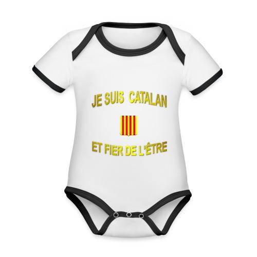 Tee-Shirt supporter du pays CATALAN - Body Bébé bio contrasté manches courtes
