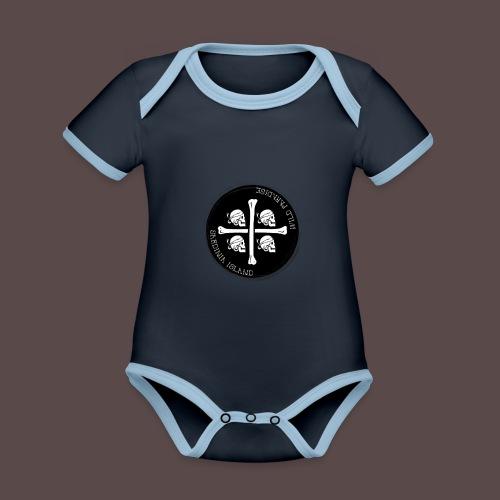 Sardegna Quattro Mori Pirata - Body da neonato a manica corta, ecologico e in contrasto cromatico