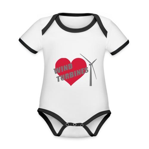 wind turbine grey - Organic Baby Contrasting Bodysuit