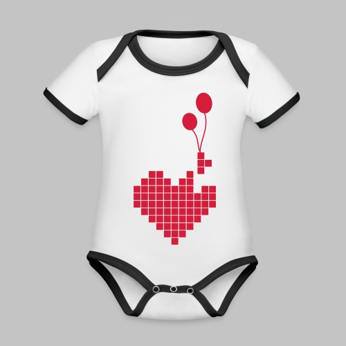 heart and balloons - Organic Baby Contrasting Bodysuit