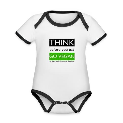 go vegan - Body da neonato a manica corta, ecologico e in contrasto cromatico