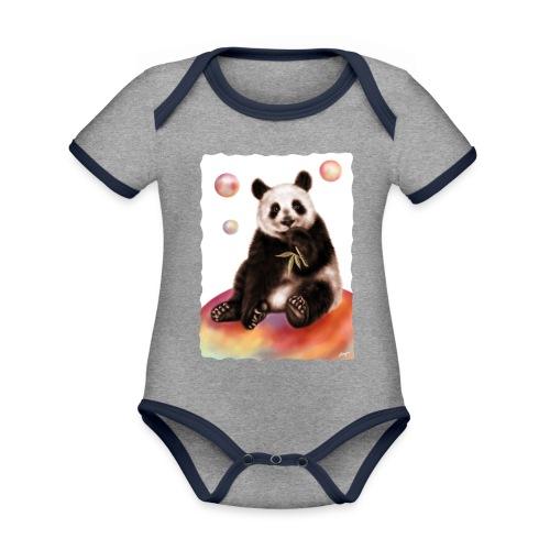 Panda World - Body da neonato a manica corta, ecologico e in contrasto cromatico