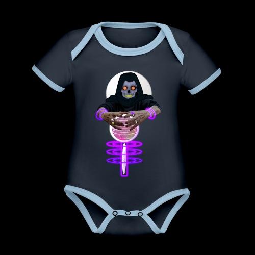 Le squelette et la boule de cristal Halloween - Body Bébé bio contrasté manches courtes