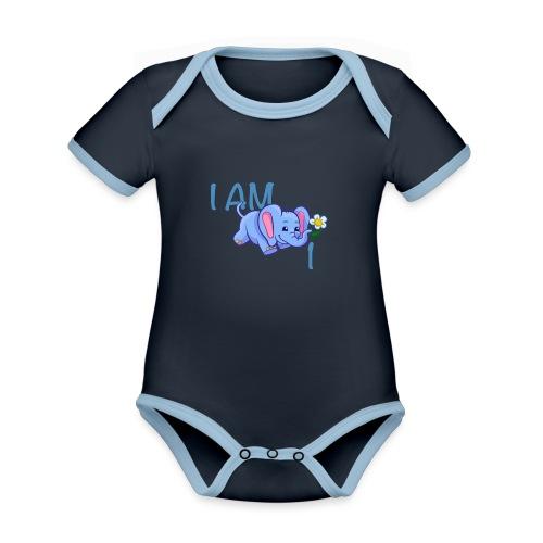 I am 1 - elephant blue - Organic Baby Contrasting Bodysuit