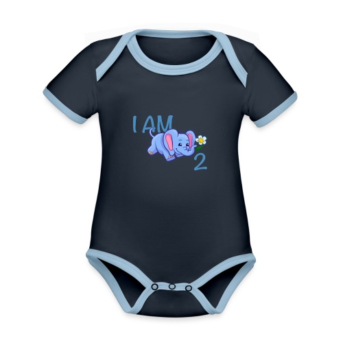 I am 2 - elephant blue - Organic Baby Contrasting Bodysuit