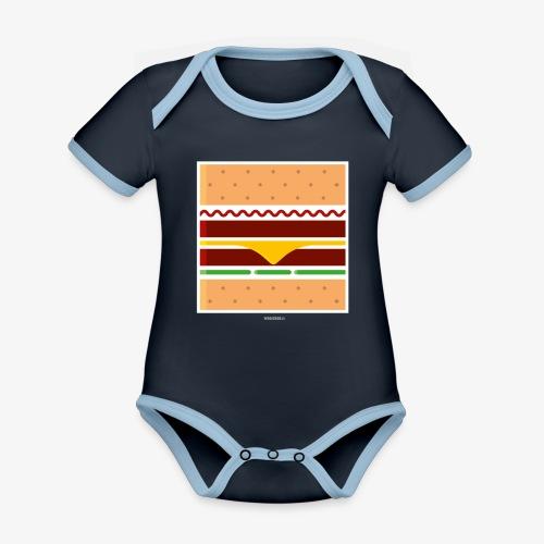 Square Burger - Body da neonato a manica corta, ecologico e in contrasto cromatico