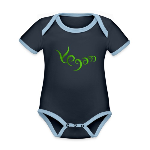 Vegaani käsinkirjoitettu design - Vauvan kontrastivärinen, lyhythihainen luomu-body