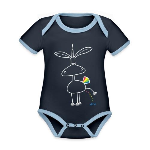 Dru - bunt pinkeln - Baby Bio-Kurzarm-Kontrastbody
