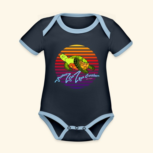 Protect The Sea Turtles - Baby Bio-Kurzarm-Kontrastbody