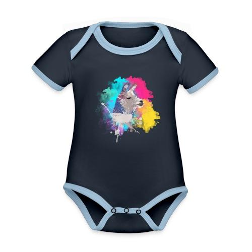 Colorful Llama - Kortærmet økologisk babybody i kontrastfarver