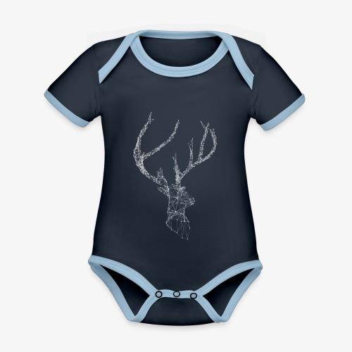 Deer head hertenkop gewei - Baby contrasterend bio-rompertje met korte mouwen