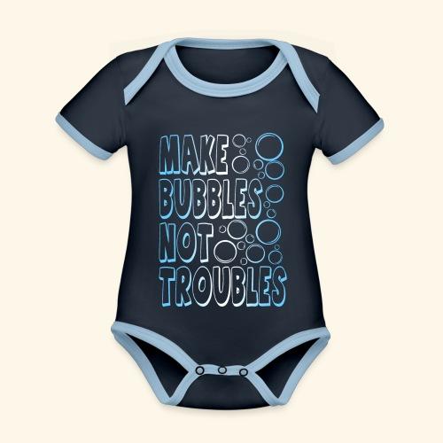 Bubbles001 - Baby contrasterend bio-rompertje met korte mouwen