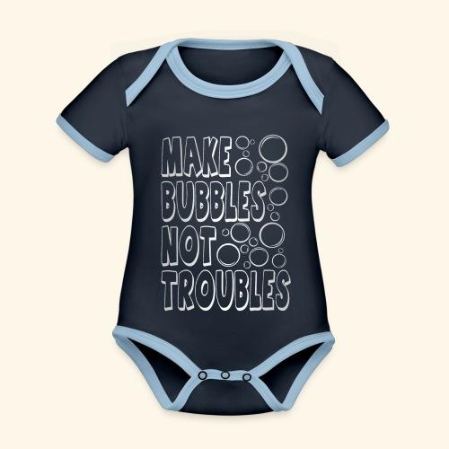 Bubbles003 - Baby contrasterend bio-rompertje met korte mouwen