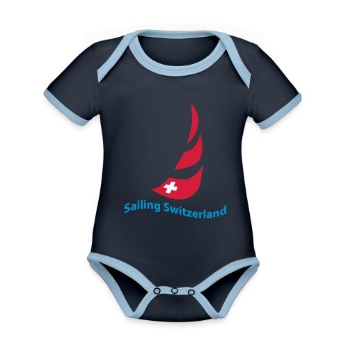 logo sailing switzerland - Baby Bio-Kurzarm-Kontrastbody