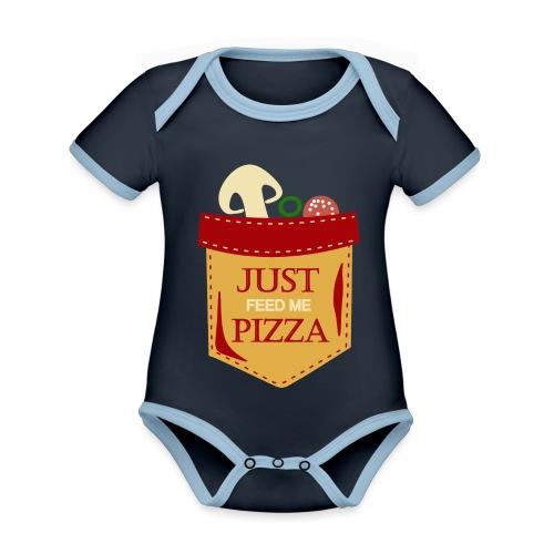 Dammi solo la pizza - Body da neonato a manica corta, ecologico e in contrasto cromatico