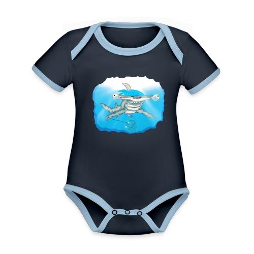 Hunting hammer fish design print - Organic Baby Contrasting Bodysuit