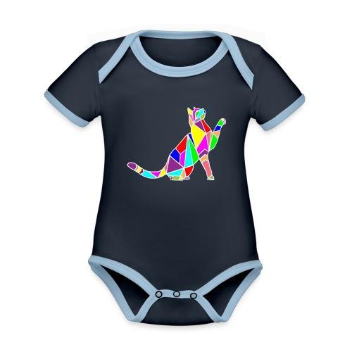 cat colors white pet animal art composicion - Body da neonato a manica corta, ecologico e in contrasto cromatico