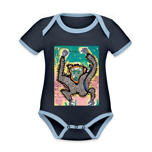 the monkey - Body da neonato a manica corta, ecologico e in contrasto cromatico