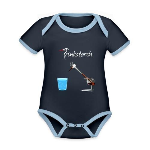 Trinkstorch Logo Weis - Baby Bio-Kurzarm-Kontrastbody
