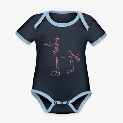 horse1 - Ekologiczne body niemowlęce z krótkim rękawem i kontrastowymi lamówkami
