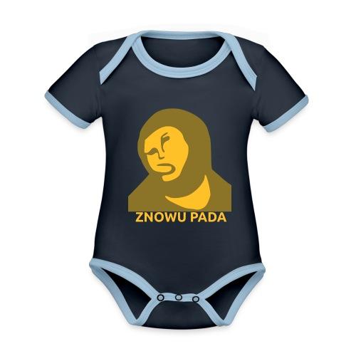 Znowu pada Jeżus z Borja - Ekologiczne body niemowlęce z krótkim rękawem i kontrastowymi lamówkami