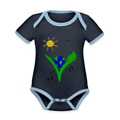 Ein Logo geht um die Welt - Baby Bio-Kurzarm-Kontrastbody