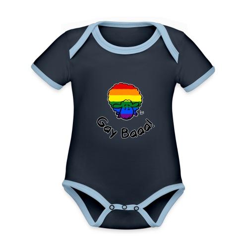 Gay Baaa! Rainbow Pride Sheep (édition noire) - Body Bébé bio contrasté manches courtes
