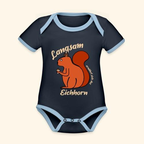 Langsam Ernährt Sich Das Eichhorn Eichhörnchen - Baby Bio-Kurzarm-Kontrastbody