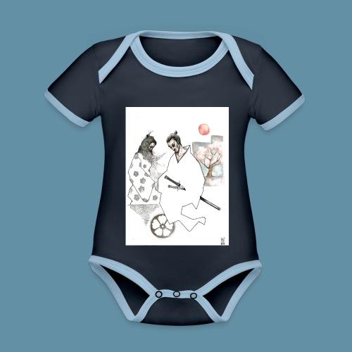 Samurai copia jpg - Body da neonato a manica corta, ecologico e in contrasto cromatico