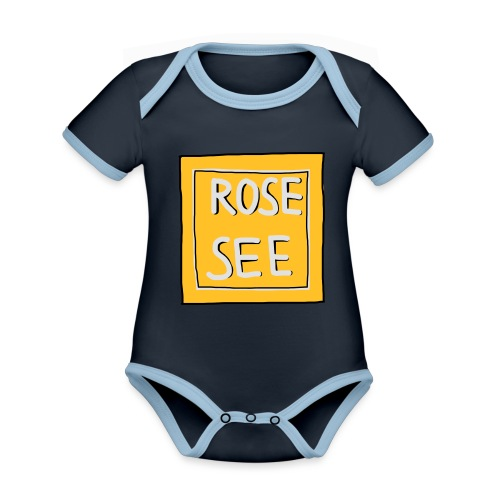 Logo voor druk op textiel - Baby contrasterend bio-rompertje met korte mouwen