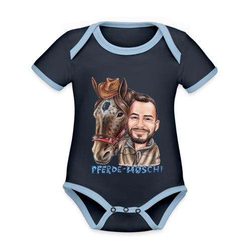 Pferde-Hoschi Kollektion hinten - Baby Bio-Kurzarm-Kontrastbody