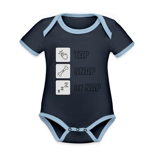 tap snap or nap - Ekologiczne body niemowlęce z krótkim rękawem i kontrastowymi lamówkami