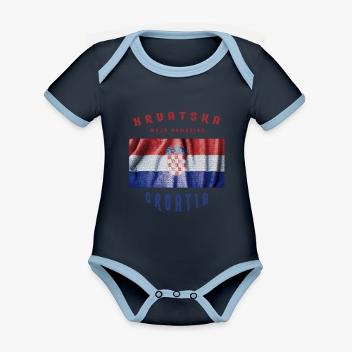 Croatia Hrvatska Flag - Baby Bio-Kurzarm-Kontrastbody