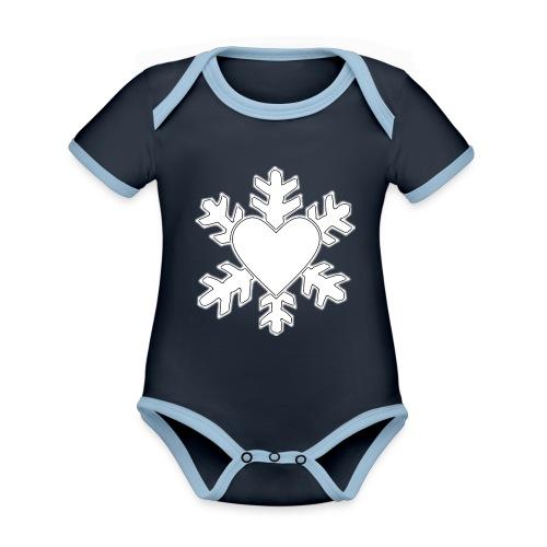 Flocon coeur 3D - Body Bébé bio contrasté manches courtes