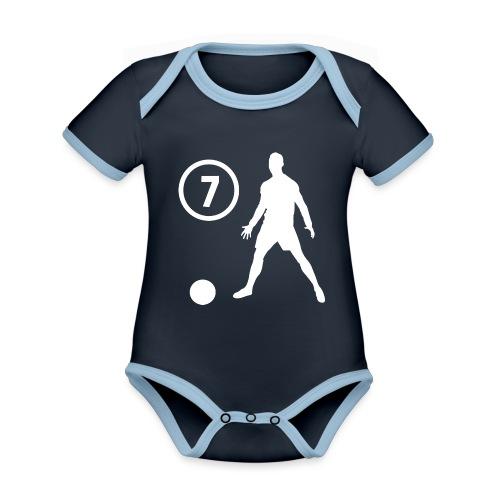 Goal soccer 7 - Baby contrasterend bio-rompertje met korte mouwen