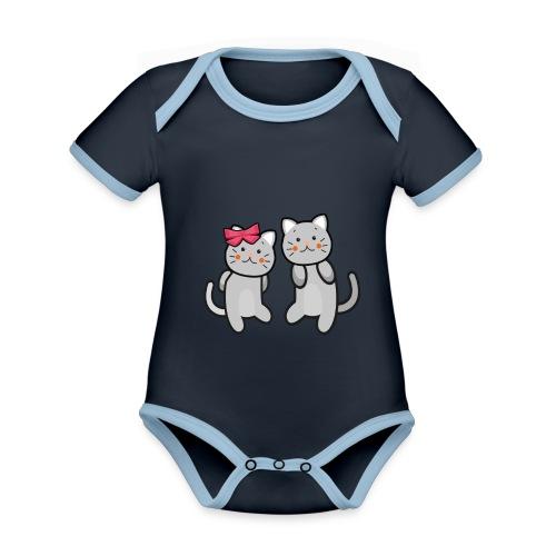Kotki - Ekologiczne body niemowlęce z krótkim rękawem i kontrastowymi lamówkami