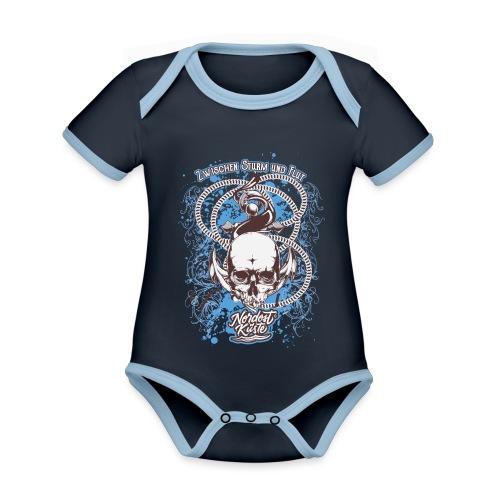 Skull Anker Design Art - Baby Bio-Kurzarm-Kontrastbody