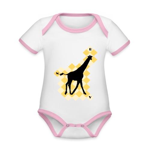 GiraffeSquare - Vauvan kontrastivärinen, lyhythihainen luomu-body