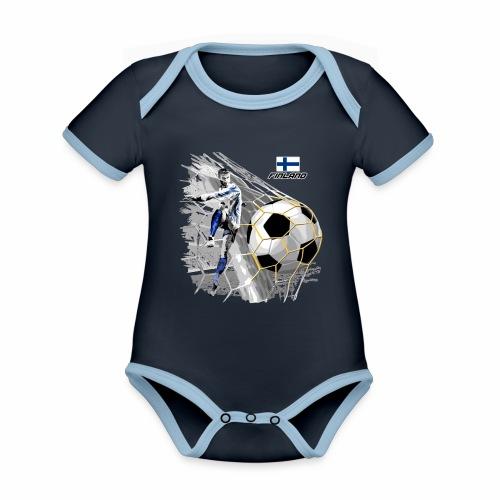 FP22F 05 FINLAND FOOTBALL - Vauvan kontrastivärinen, lyhythihainen luomu-body