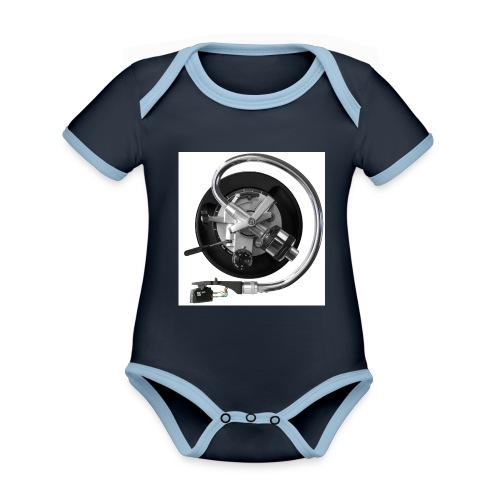 120dpiliebrandslarm - Baby contrasterend bio-rompertje met korte mouwen