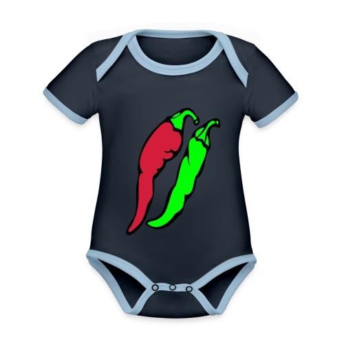 Chilli - Ekologiczne body niemowlęce z krótkim rękawem i kontrastowymi lamówkami