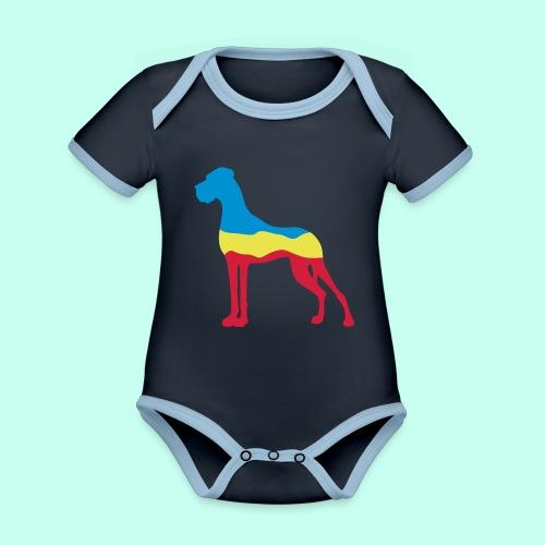 Flaggen Dogge - Baby Bio-Kurzarm-Kontrastbody