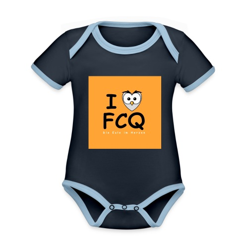 I Love FCQ button orange - Baby Bio-Kurzarm-Kontrastbody