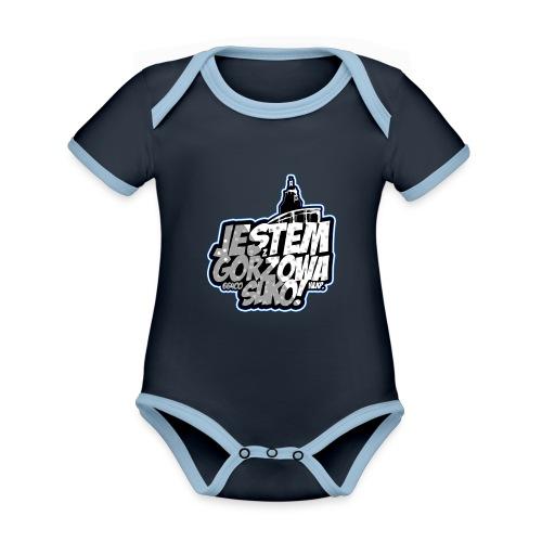 Jestem-Z-Gorzowa-Suko! - Ekologiczne body niemowlęce z krótkim rękawem i kontrastowymi lamówkami