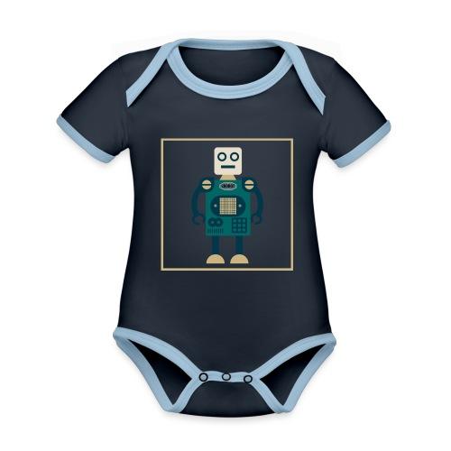 gROBOT One - Body da neonato a manica corta, ecologico e in contrasto cromatico