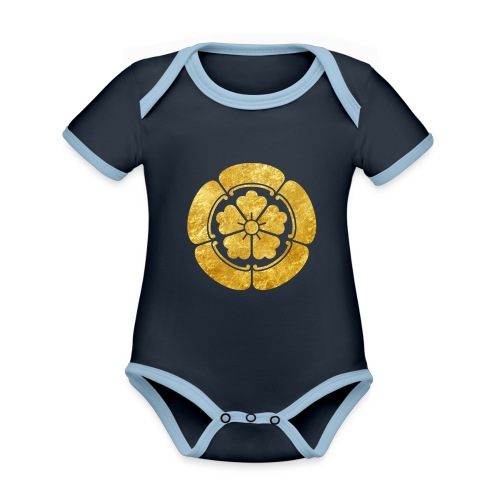 Oda Mon Japanese samurai clan faux gold on black - Organic Baby Contrasting Bodysuit