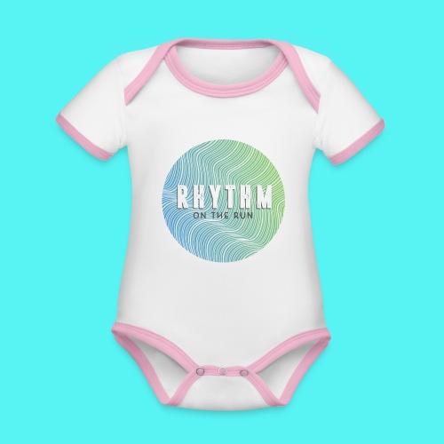 Rhythm On The Run Logo - Organic Baby Contrasting Bodysuit